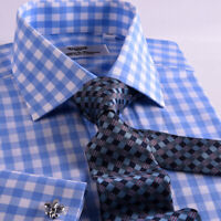 Blue & White Gingham Check Formal Business Dress Shirt  Exclusive Fashion A+
