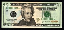 Fancy LOW # EE00000698A $20 Birth Month/ Year note, Uncirculated June 1998 6/98