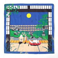 Japanese Cotton Furoshiki Wrapping Cloth Full Moon & Sleepy Tabby Cat