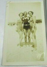 Man Women On Beach Bathing Suits 1937 VTG Sepia Photo Beachfront near boardwalk