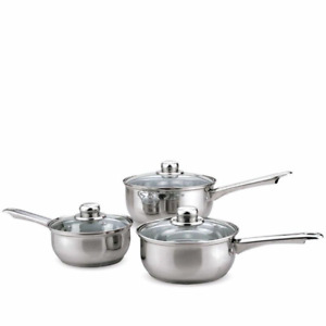 Sabichi set of 3 Stainless Steel Pots Pan Set & Glass Lids Gift Boxed Induction