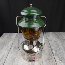 Vintage Coleman 202 Nickel Green Single Mantle Lantern w/ Amber Globe