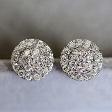 1.1Ct Natural Diamond 10K White Gold Cluster Wedding Earrings EWG65-10-2