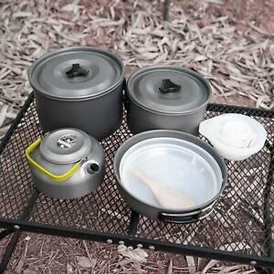 10x Portable Outdoor Camping Cookware Cooking Picnic Bowl Spoon Pot Pan Set UK