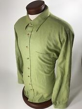 MINE LONDON MILAN NEW YORK Men's Long Sleeve Button Front Green Cotton  Size XL
