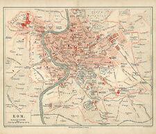 Altes Rom B14 Historische Stadtkarte 1895 Stadtplan Italien