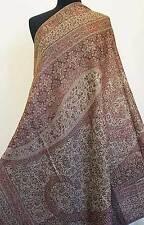 Large Wool Jamavar Paisley Shawl Burgundy & Taupe Pashmina Style Mughal Inspired