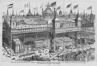 WORLDS FAIR SUGGESTED SITE IN 1883 STREETCARS HORSES CARRIAGES ARCHITECTURE