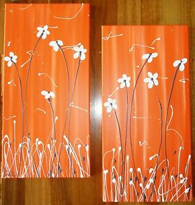 ORIGINAL ABSTRACT CANVAS PAINTINGS ORANGE CREAM FLOWERS WALL ART DEE'S FUNKY ART