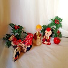 Lot of 4 Vtg Christmas Ornaments Felted Angel Mouse Quilted Bird Apple