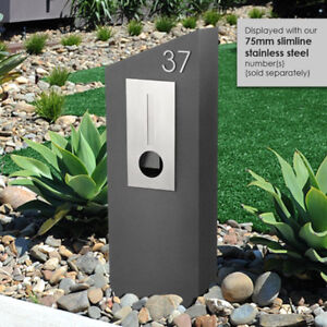 Pillar LETTERBOX - CHARCOAL with 304 Stainless Flat FRONT, Mailbox, Key Lock