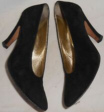 ESCADA Vintage Shoes 7 37 Black Suede Pumps Heels Black Leather