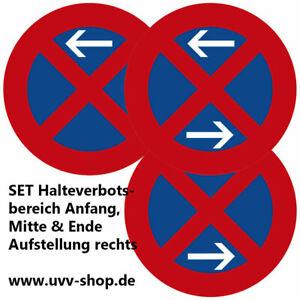 Set 3 x Verkehrszeichen 283 Halteverbotsbereich 60 cm rechts
