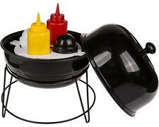 Porta Spezie Barbecue Sferico Tondo Con Sale Pepe e Ketchup Bottiglia