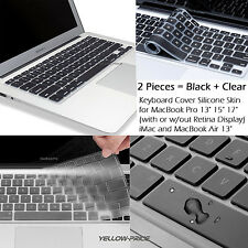 "2pcs BLACK+CLEAR Keyboard Cover for MacBook Pro 13"" 15"" 17"" Air 13'' Retina iMac"