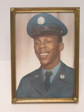 U.S. AIR FORCE FRAMED PHOTOGRAPH BLACK AMERICAN SOLDIER 5 X 7 WITH GOLD FRAME !!