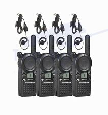 4 Motorola CLS1110 Two Way Radio Walkie Talkie with 4 HKLN4604 PTT Earpieces