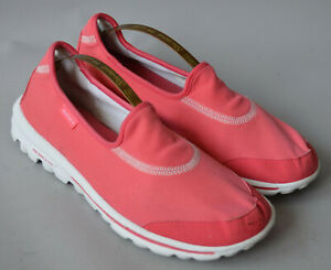 Ladies Skechers Go Walk Coral Pink Pull On Trainers Size UK 7