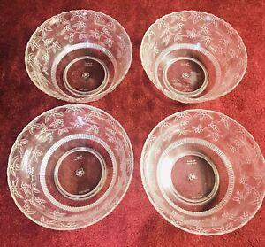 4 Vintage Contessa Plastic 8 Quart Punch Bowls Clear Floral Pattern