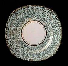 COLCLOUGH SIDE PLATE BONE CHINA SIDEPLATE PALE BLUE & GOLD CHINTZ SCALLOPED RIM