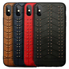 Leather Back Metal Stud Thin Slim Fit TPU Case Cover For iPhone Samsung Galaxy