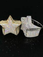 Men's Hip Hop 3D STAR Solid 925 Silver 5ct Diamond Pinky RING 14k Gold ICED OUT