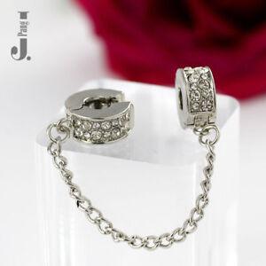 Silver Rose Gold Shining Elegance Safety Chain Clip Charm European Bracelets UK