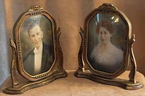 Pair antique picture frame Glass curved Vaudeville men women portrait convex set