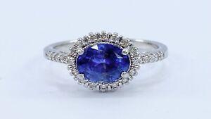 1.55 ct NATURAL DIAMOND cornflower blue sapphire halo ring 18k white GOLD(VIDEO)