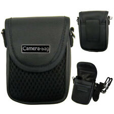 Compact Camera Case Universal Soft Bag Pouch + Strap Black