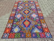 "Vintage Turkish Kilim Purple Color Floor Wool Rug Handmade Decor Carpet 41""x75"""