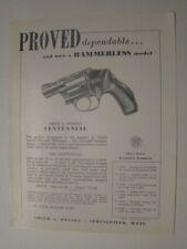 1950's Smith & Wesson Hammerless Centennial Han Gun 1 Page Flyer Springfield Ma