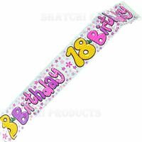 9Ft 18th Silver &Pink Glitz Birthday Banner Teenager Decorations Party Supply