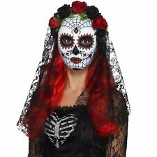 Ladies Day of the Dead Sugar Skull Senorita Mask Veil Halloween Accessory Kit