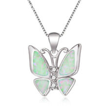Womens Silver Pendant Necklace Jewelry Women'S White simulated Opal Butterfly