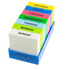 Borinhalbich 7 Day Pill Organizer - 3 Compartment Daily Pill Boxes in Blue Tray