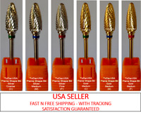 TDUSA CARBIDE NAIL DRILL BIT FOR PROS - FLAME SHAPED DRILL BITS