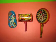 Vintage Metal Toy Tin Litho Frying Pan Clapper Noisemaker & clown & Kirchhof