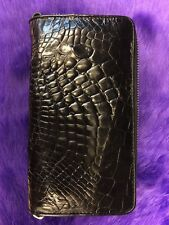 GENUINE-CROCODILE-SKIN-LEATHER-MENS-2-ZIPPER-WALLETS-BLACK-NEW-PURSE-ALLIGATOR
