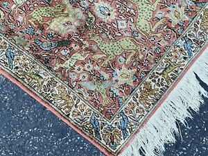 SILK TREE OF LIFE PRSIAN RUG 4x6 CRITTER LOVERS_VEGETABLE DYE_FREE SHIPPING