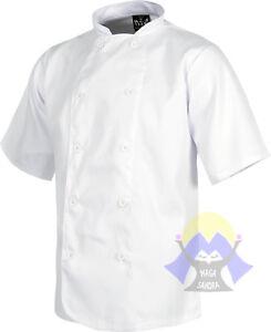 CASACCA Corta BIANCA da CUOCO Bottoni CHEF Cucina GIACCA Pizza COTONE RESTAURANT