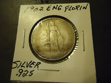 1902 ENGLISH FLORIN COIN   ** .925 SILVER **         > USA SELLER <