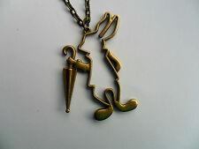 INHABITUEL Alice au pays des Merveilles Grand bronze lapin et parapluie collier