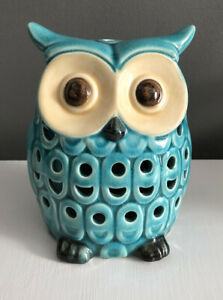 "Vintage Ceramic Owl Figurine 6"" Tall Turquoise Blue Sachet Holder Brown Eyes"
