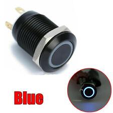 12v 4 Pin 12mm LED Luz De Metal interruptor de botón momentáneo IMPERMEABLE NEGRO