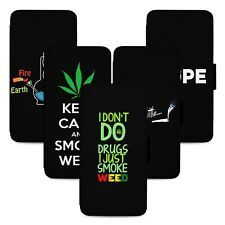 High 420 Weed Design Flip Phone Case Cover Wallet - Fits Iphone 5 6 7 8 X 11