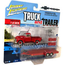 JOHNNY LIGHTNING JLSP018 1950 CHEVROLET TRUCK with FLATBED TRAILER 1/64 RED