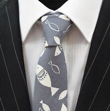 Tie Neck tie Slim Slate Grey with White Fish Quality Cotton T6073