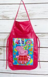 World Of Peppa Pig Girls Pink Vinyl  Bib Apron Cooking Crafts Handmade