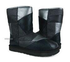 UGG Classic Short Glitter Patchwork Black Leather Fur Boots Womens Size 8 *NIB*